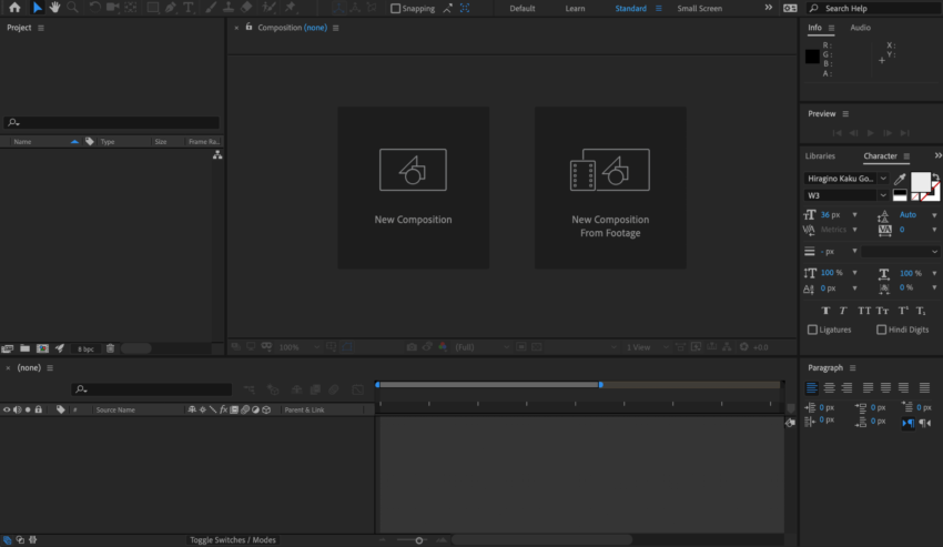 After Effects 英語版の編集画面