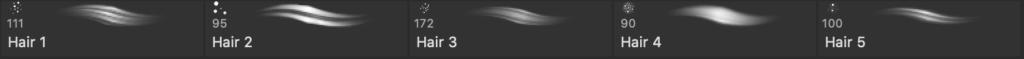 Photoshopのヘアーブラシセットの実際のブラシ内容画像