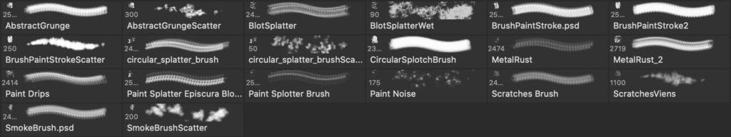 Photoshopのペンキブラシセットの実際のブラシ内容画像