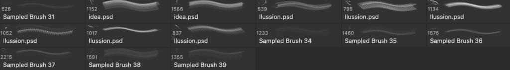 Photoshopのエネルギーブラシセットの実際のブラシ内容画像