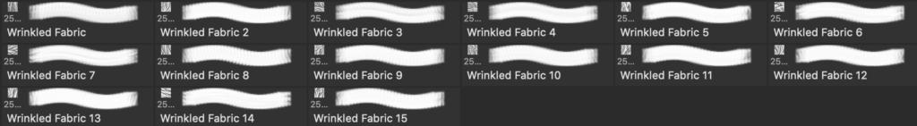 Photoshopのリンクルブラシセットの実際のブラシ内容画像