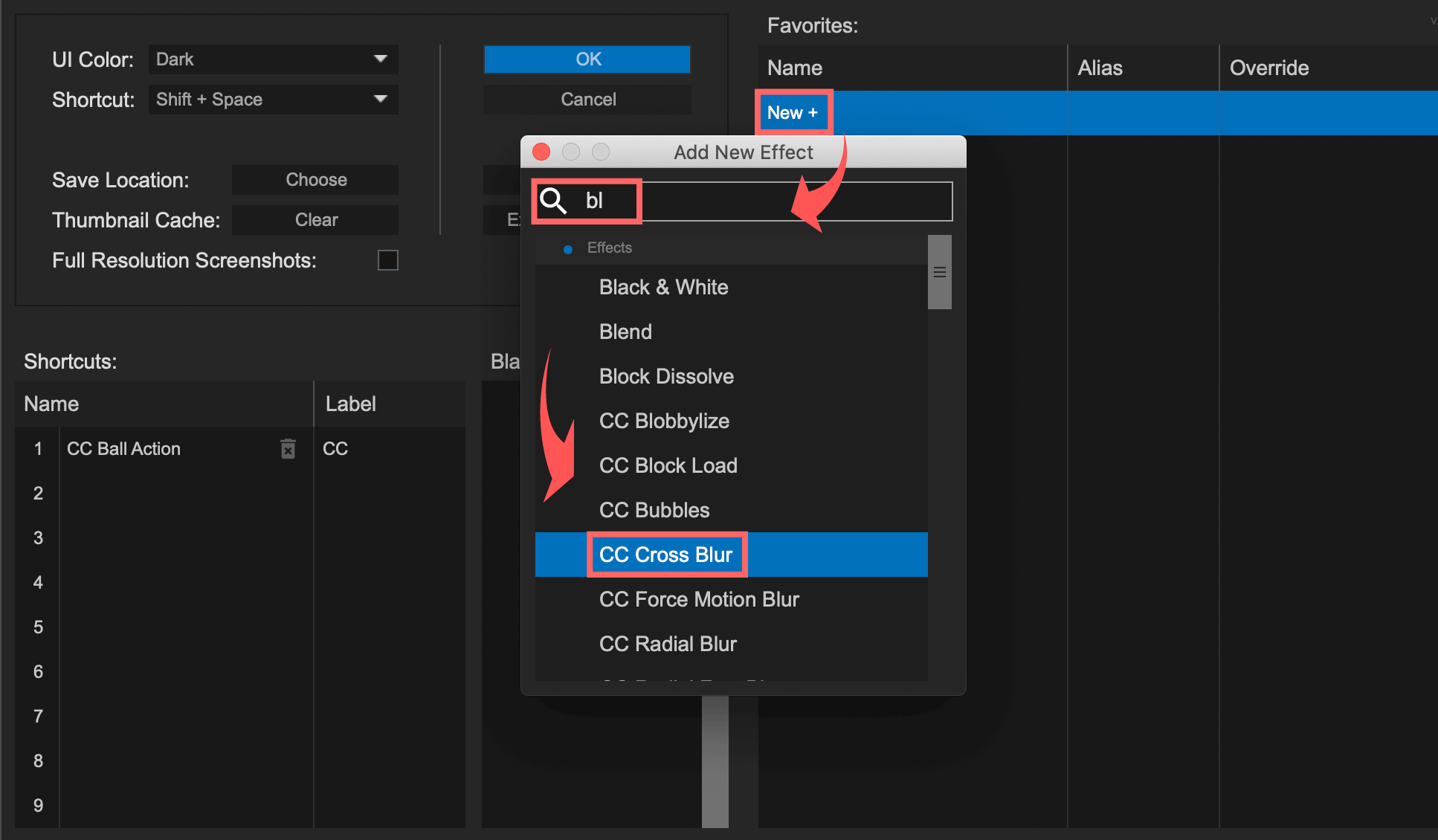 After EffectsのFX console 設定パネル CC Cross Blur