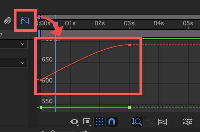 Adobe After Effects イージーイーズインのグラフエディタ変化