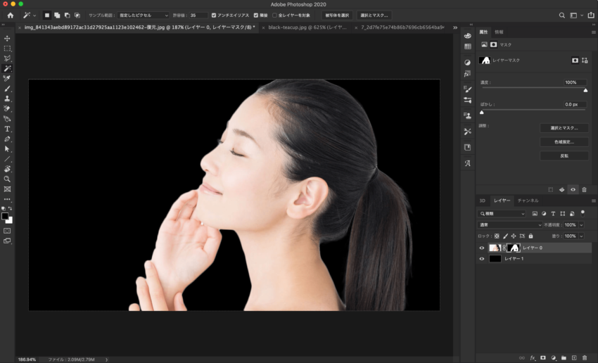 Adobe CC Photoshop フォトショップ 切り抜き 髪の毛 簡単 切り抜き 切り抜き素材 画像 背景を黒にして切り抜きを確認