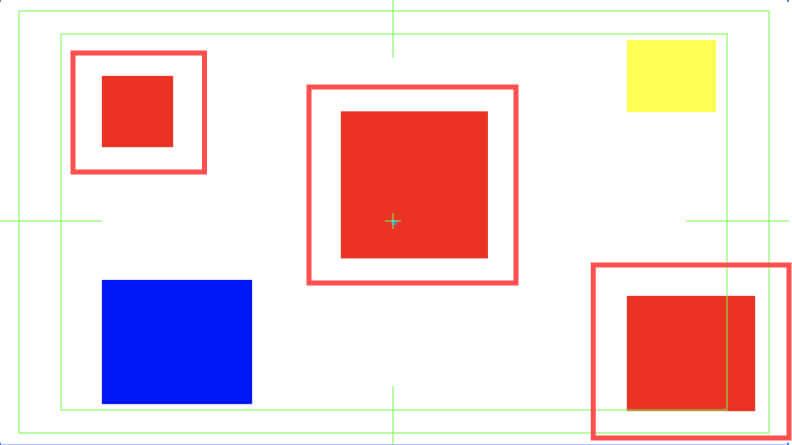 グローバルカラーレッドを設定した四角形が3つ