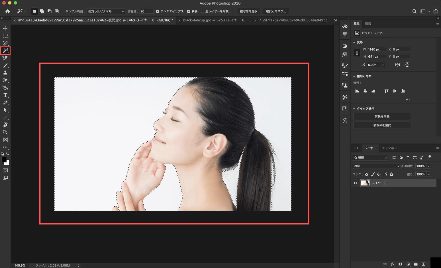 Adobe CC Photoshop フォトショップ 切り抜き 髪の毛 簡単 切り抜き 切り抜き素材 画像自動選択ツールで背景を全て選択する