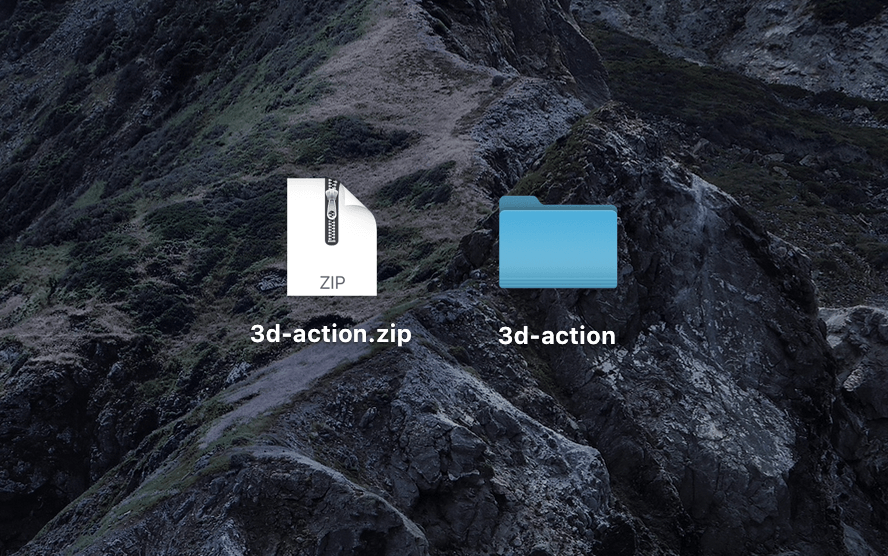 『3d-action.zip』がダウンロードされる