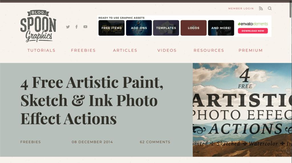 アクション素材『4 Free Artistic Paint,Sketch & Ink Photo Effects』の無料配布サイト
