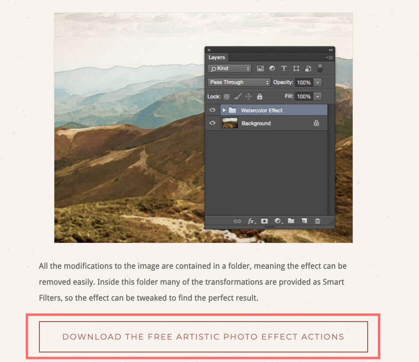 『DOWNLOAD THE FREE ARTISTIC PHOTO EFFECT ACTION』とあるのでクリック