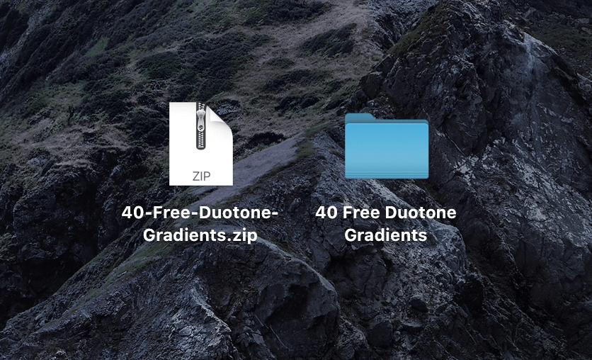 『40-Free-Duotone-Gradients.zip』がダウンロードされる