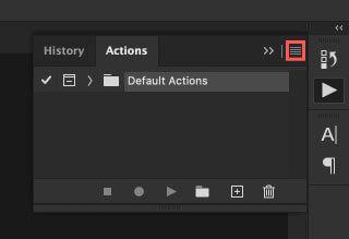 アクション操作パネルの右上のメニューをクリック
