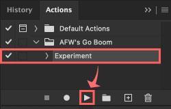 『AFW's Go Boom』フォルダを開き、中に入っている『Experment』を選択した状態で下の▶️ボタンをクリック