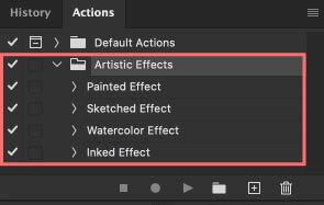 アクションに『Artistic Effects』が追加される