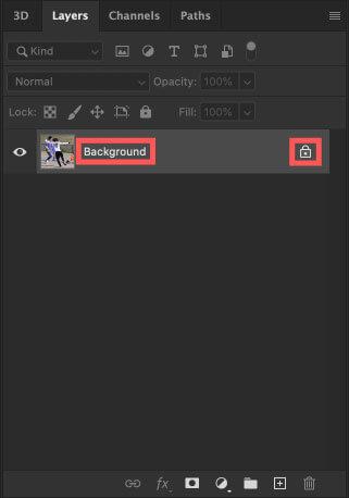 読み込んだ素材のレイヤー名が『Background』の背景レイヤーで鍵マークが表示されていることを確認する