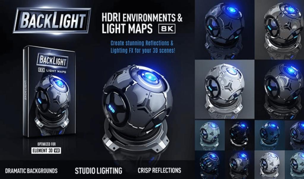 『BackLight』 は、Element 3DV2で使用できる8K対応の環境マップとHDRIファイルを52種類を収録した素材集
