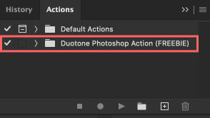 アクションに『Duotone Photoshop Action (FREEBIE)』が追加