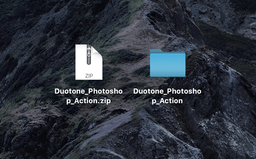 『Duotone_Photoshop_Action.zip』がダウンロードされる