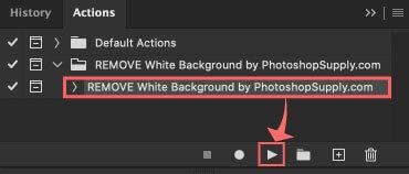 REMOVE White Background by PhotoshopSupply.com』を選択した状態で下の▶️ボタンをクリック
