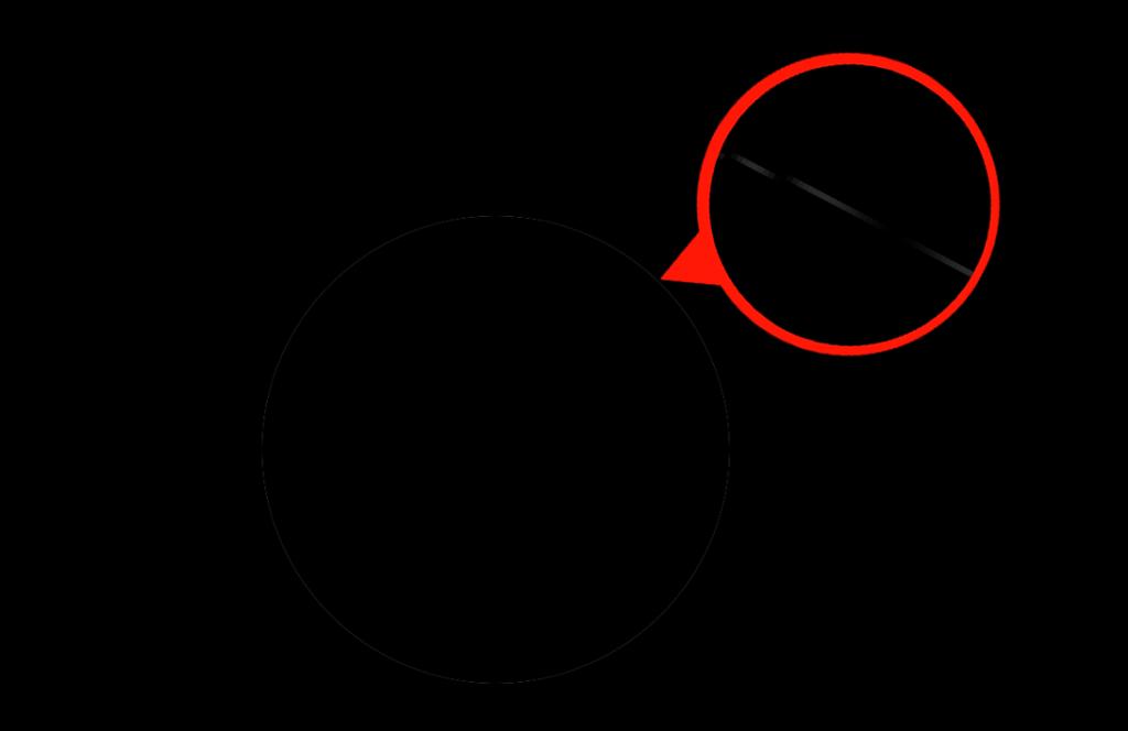 切り抜いた黒い円のエッジにフランジが発生