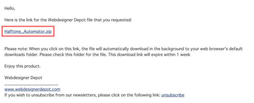 メールを確認し『Halftone_Automator.zip』というリンクをクリック