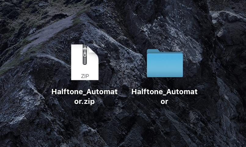 『Halftone_Automator.zip』がダウンロードされる