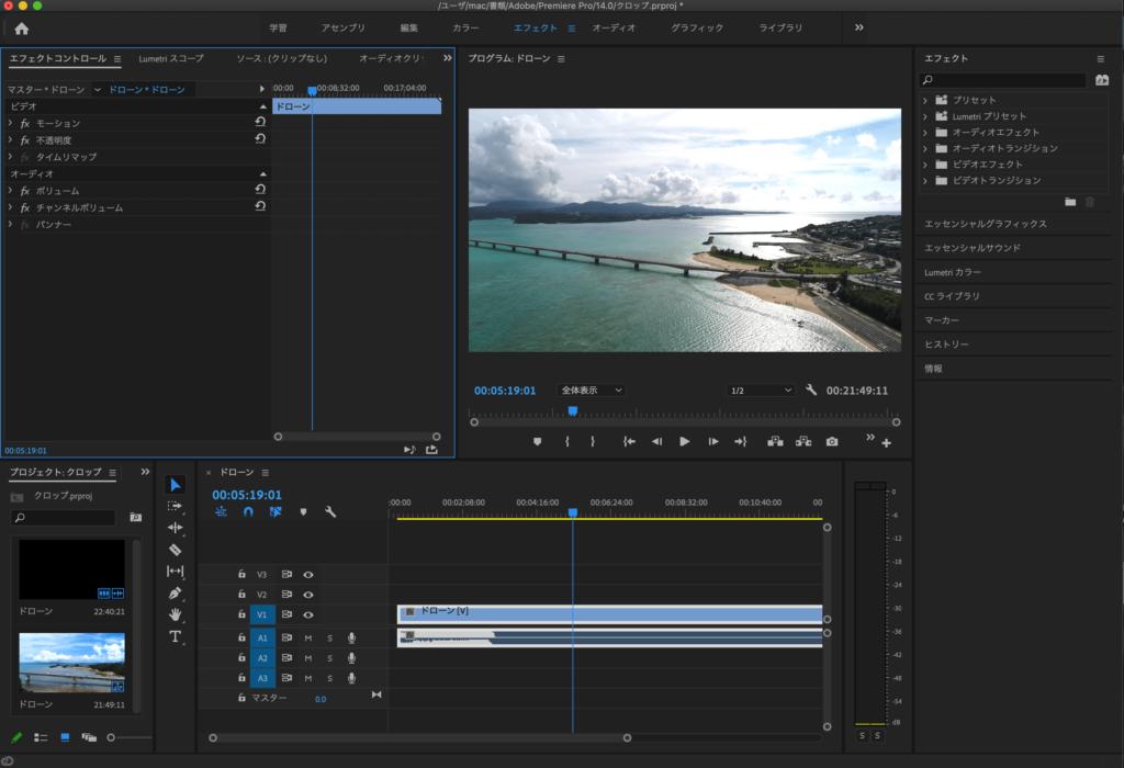 Adobe Premiere Proを起動し、必要な素材を読み込む