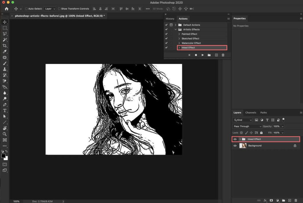 『Inked Effect』はインクで印刷されたような加工をつけることができるアクション