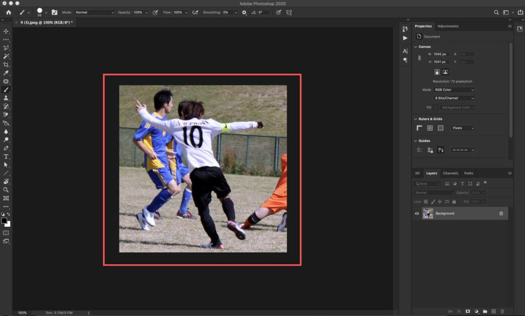 アクションを適用したい素材をPhotoshopに読み込む