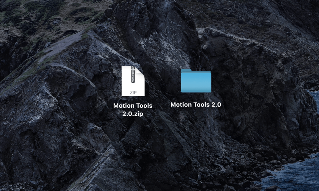 ダウンロードした『 Motion Tools 2 』の.zipファイルを開く