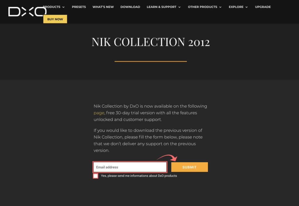 『Nik Collection』が無料配布されている開発元(DxO社)のダウンロードページへ