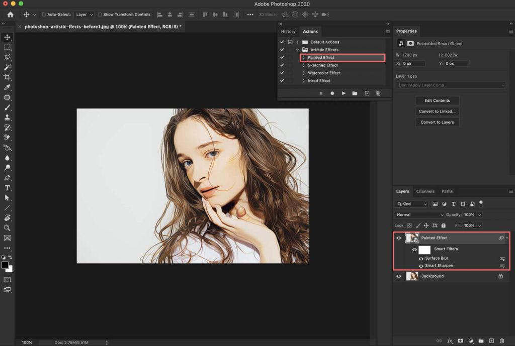 『Painted Effect』はより実写に近い質感をイラスト調で表現することができるアクション