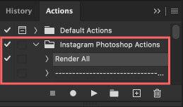 Photoshopアクションへアクション素材『30 Free Instagram Photoshop Actions』がインストール