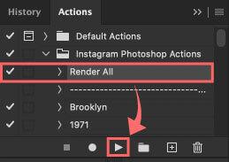 『Render All』を選択して下のスタートボタンを押しアクションを適用