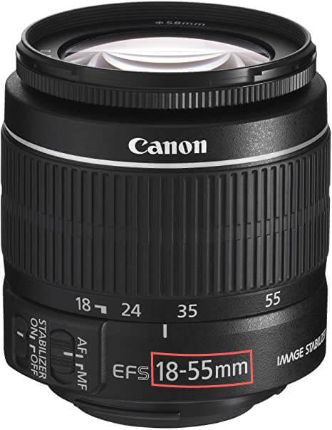 カメラレンズに焦点距離範囲の表示