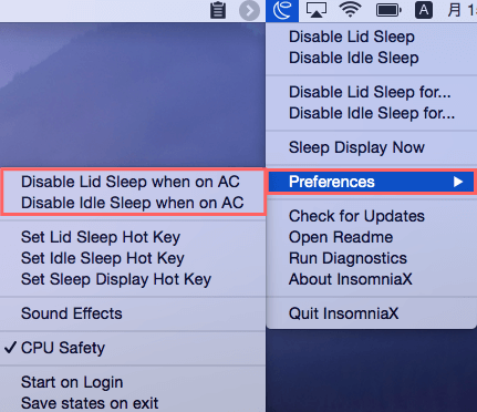 Disable Lid Sleep when on AC or Disable Idle Sleep when on ACは電源を繋いでいるときのみ有効