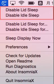 チェック中はスリープしない Disable Lid Sleep