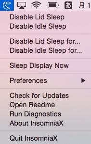 『InsomniaX』アイコンをクリックしてメニューを表示させる