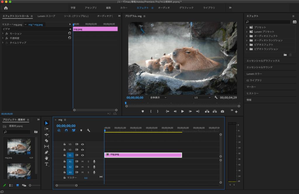 Adobe Premiere Proへ背景素材の読み込み