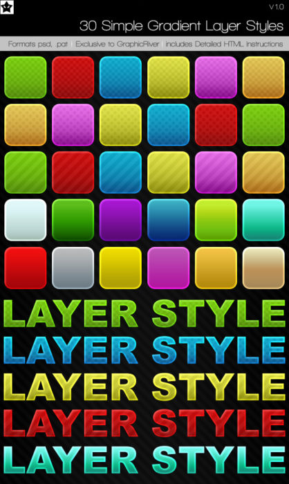 30 simple gradient Layer Style