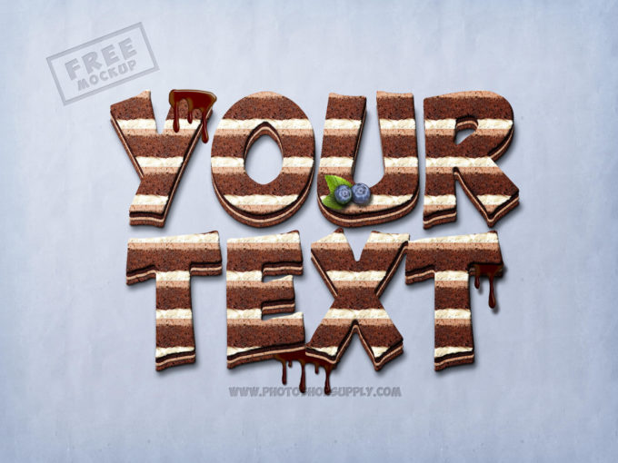 Chocolate Cake Photoshop Text Mockup