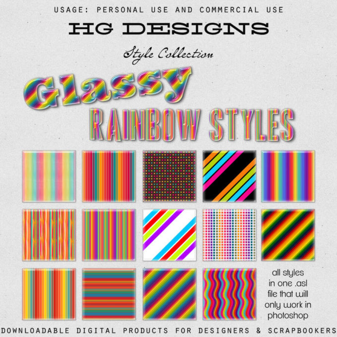 Glassy Rainbow Photoshop Styles