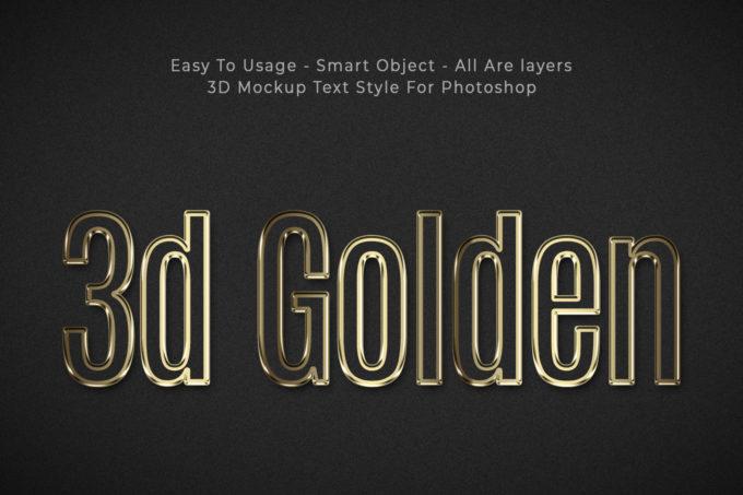 Golden 3D Text Style Effects