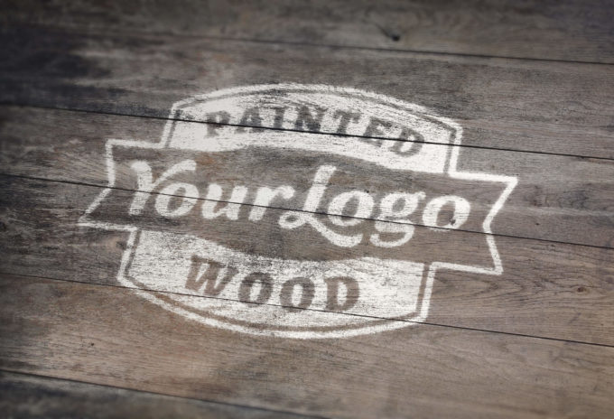 Painted Wood Logo Mock-Up