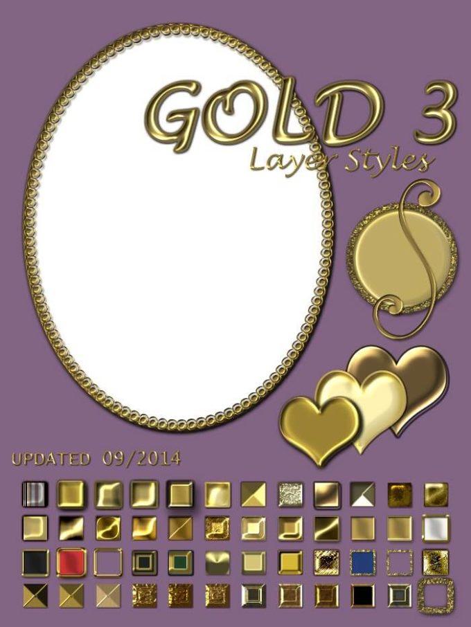 Photoshop Gold Layer Style フォトショップ ゴールド レイヤースタイル Gold Layer Styles Volume 3