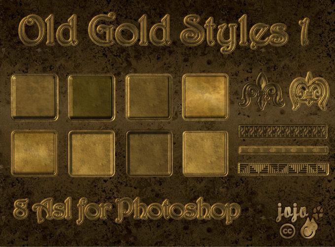 Photoshop Gold Layer Style フォトショップ ゴールド レイヤースタイル Old Gold Photoshop Styles 1