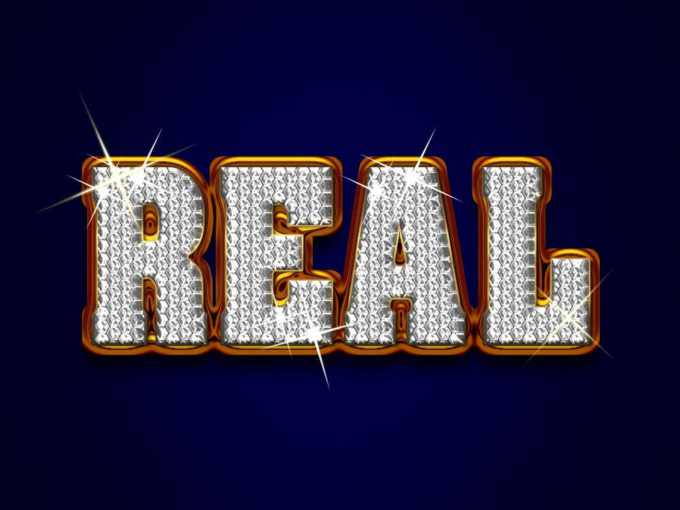 Real Diamond Text PSD
