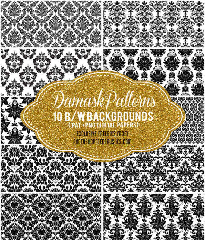 10 Black and White Vintage Damask Patterns