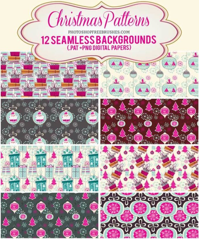 12 Pink Christmas Holiday Patterns and Backgrounds