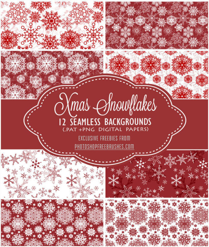 12 Free Red and White Snowflakes Patterns