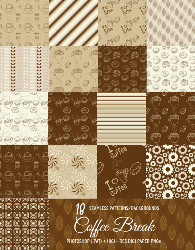 18 Free Coffee Background Patterns Vol.2